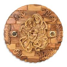 christian home decor olive wood holy family wall plaque with blessing christian home