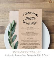 rustic wedding menu template printable menu card editable