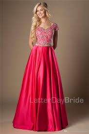 Modest Fuchsia Gold Appliques Long A Line Modest Prom Dresses With Cap