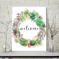 welcome print welcome sign floral wreath welcome wall