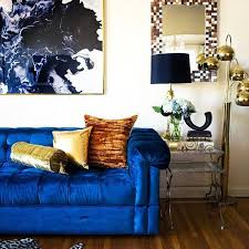 Blue Home Decor 21 Different Style To Decorate Home With Blue Velvet Sofa