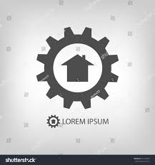 house construction company grey gearwheel house construction company logo stock vector