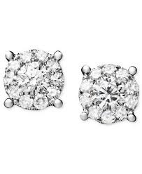 studded earrings diamond circle stud earrings in 14k white gold 1 1 4 ct t w