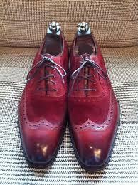 handmade men burgundy formal wingtip shoes men spectator dress