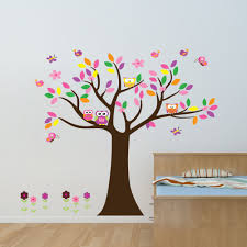 colourful owls tree and flowers wall sticker zoo yoo colourful owls tree and flowers wall sticker 2