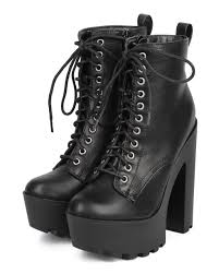 womens black combat boots size 11 breckelles 11 leatherette lace up lug sole