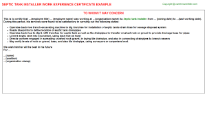 Sample Accounting Resume No Experience by Septic Tank Installer Work Experience Certificate