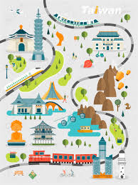 Nazareth College Map 48666338 Lovely Taiwan Travel Map Design In Flat Style Stock