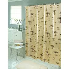 white target shower curtains with wooden table in fancy bathroom