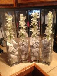 Walmart Wedding Flowers - rocks water flower vine inside vase for tall centerpieces
