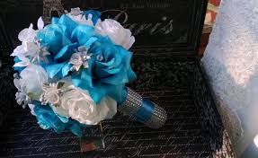 Blue Wedding Bouquets Malibu Blue White Rose With Silver Accents Wedding Bouquet Blue