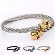 stainless steel cuff bangle bracelet images Buy mens boys silver stainless steel bracelet skull animal charm jpg