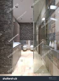 Images Of Contemporary Bathrooms - contemporary bathroom design using small tiles stock illustration