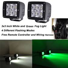 24w 3x3inch led work light offroad remote white green