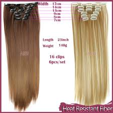 16 Inches Hair Extensions by Wish Hairpiece 23inch 140g Straight 16 Clips In False Hair Styling