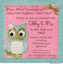 girls teal and pink owl first birthday invitation light border