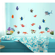 wholesale 10pcs lot underwater world sea shark fish ocean diy wall wholesale 10pcs lot underwater world sea shark fish ocean diy wall stickers wallpaper art decor mural kids room decal k6088 in wall stickers from home