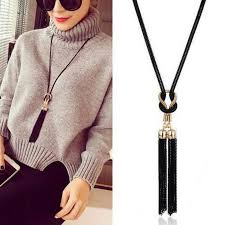 long chain bow necklace images 2018 whole salelusion black chain bow tassel boho choker necklace jpg
