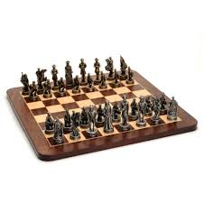 civil war chess set u2013 pewter pieces u0026 walnut root board 16 in
