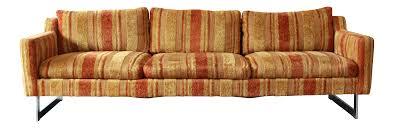 milo baughman style mid century modern chrome base floating sofa