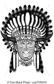 stock illustration of american indian chief native american