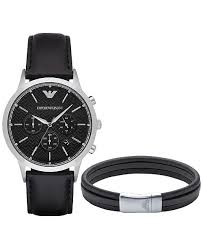 leather armani bracelet images Emporio armani men 39 s chronograph renato black leather strap watch tif