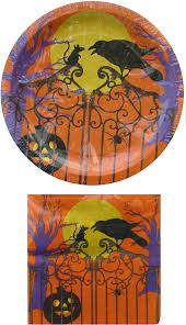 halloween plates amazon com spooky orange halloween paper plates u0026 napkins set for