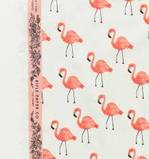 flamingos ivory cotton lawn fabric by cotton steel made in japan