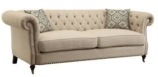 Tufted Upholstered Sofa by Coaster 505821 Trivellato Button Tufted Sofa In Wheat Tone Upholstery