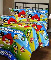 ruhi home furnishing multicolr cotton angry birds cartoon printed