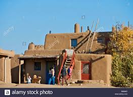 inhabited adobe houses taos pueblo new mexico usa stock photo