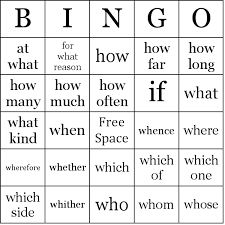 Words Cards Question Words Bingo Cards
