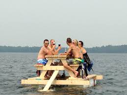 floating picnic table for sale party barge picnic table equipped with motor pontoon floats