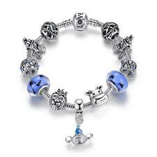 pandora style charm bracelet images Fashion pandora style charm bracelets with blue murano glass beads jpg