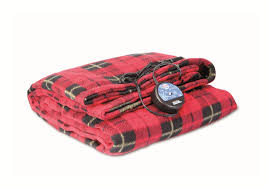 Maxsa 12v heated travel blanket red plaid use in