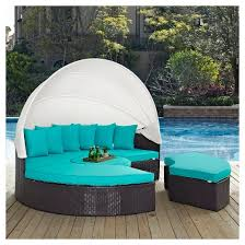 convene canopy outdoor patio daybed in espresso turquoise modway