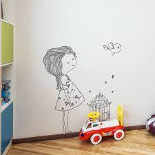 sticker mural chambre fille stickers muraux chambre enfant l oiseau et la fille