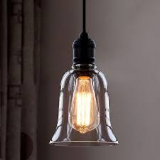 Pendant Lighting Glass Shades Single Light Mini Pendant With Clear Bell Glass Shade