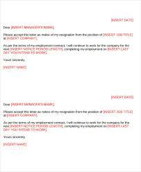 7 short resignation letter templates free sample example
