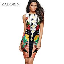 2017 europe fashion floral india bodycon pencil dress women casual