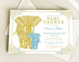 henna elephant baby shower invitation design or new baby