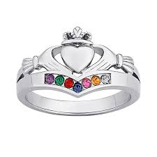mothers ring 7 stones s simulated birthstone claddagh ring in platinum plated
