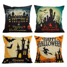 Burlap Decorative Pillows 4 Pack Happy Halloween Square Burlap Decorative Pillow Covers