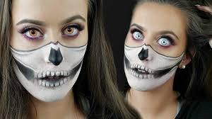 Halloween Skull Makeup Tutorial Half Skull Half Glam Halloween Makeup Tutorial Youtube