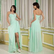 newest cheap high low chiffon mint front short long back prom
