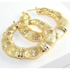 big gold hoop earrings big and xtra thick 2 gold plated bamboo hoop earrings polyvore
