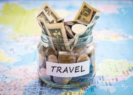 travel money images Travel budget concept travel money savings in a glass jar on jpg