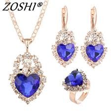 bridal jewelry necklace earrings images Hot sale trendy bridal jewelry sets colorful austrian crystal jpg