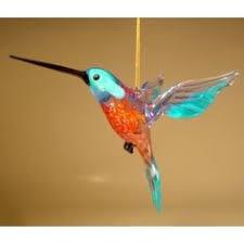 blown glass hummingbird ornament suncatcher light green