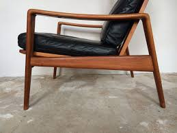 ledersessel design arne wahl iversen komfort lounge chair teak 60s design